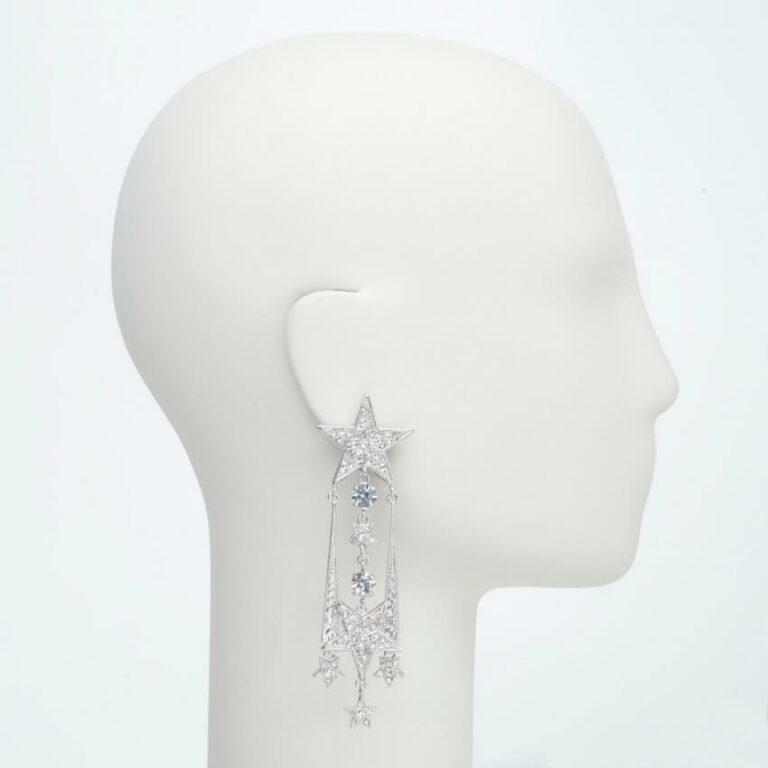 orecchino pendente clip stelle strass