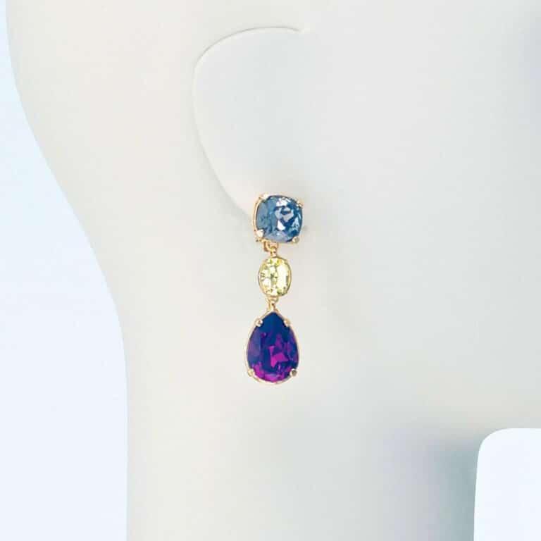 orecchino pendente clip cristalli