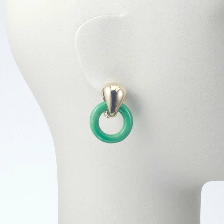 orecchino pendente clip oro resina verde