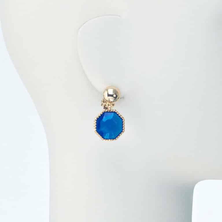 orecchino pendente clip resina blu