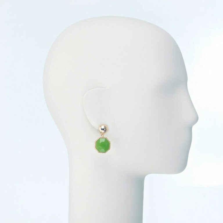 orecchino pendente clip resina verde