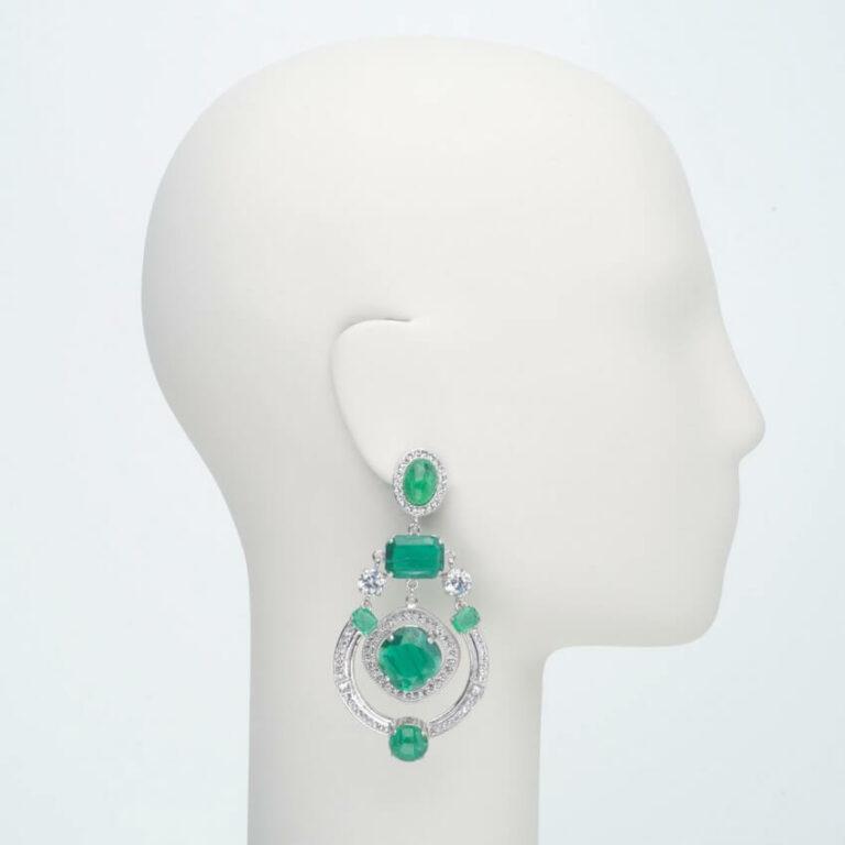 orecchino pendente clip zirconi verde smeraldo princess