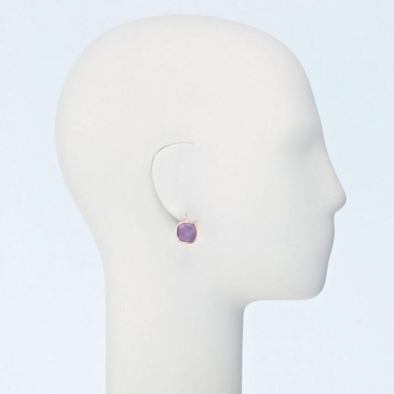 orecchino pendente oro ametista