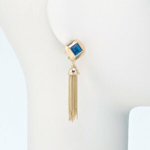 orecchino pendente oro cristallo blu