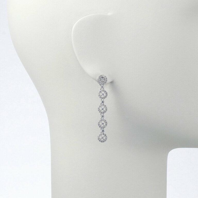orecchino pendente perno argento zirconi