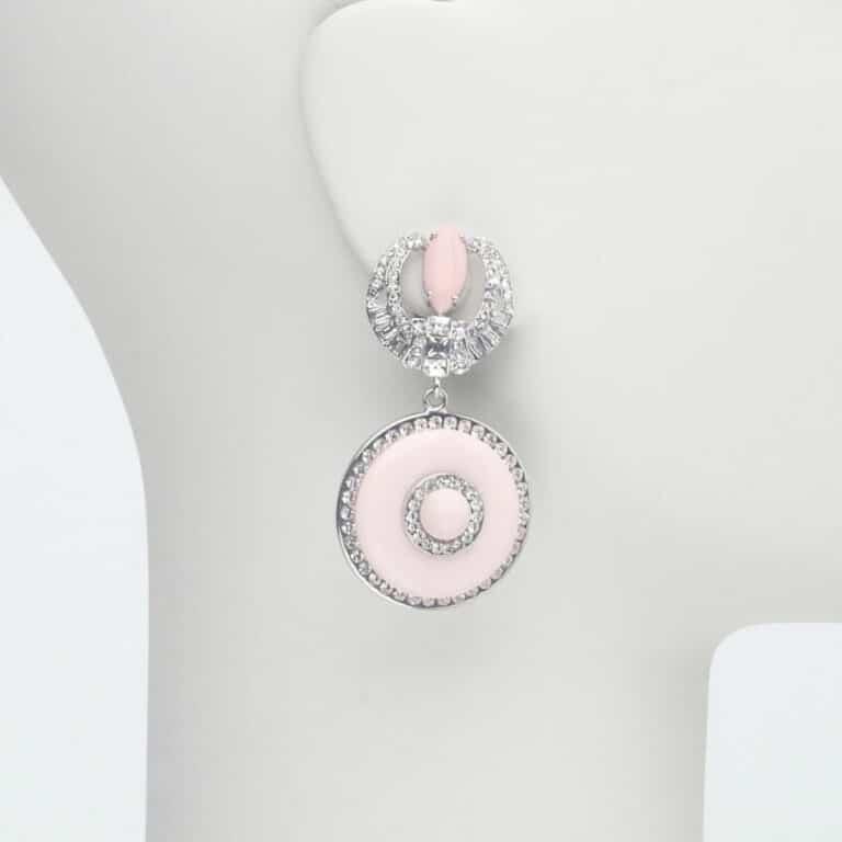 orecchino pendente perno strass rosa