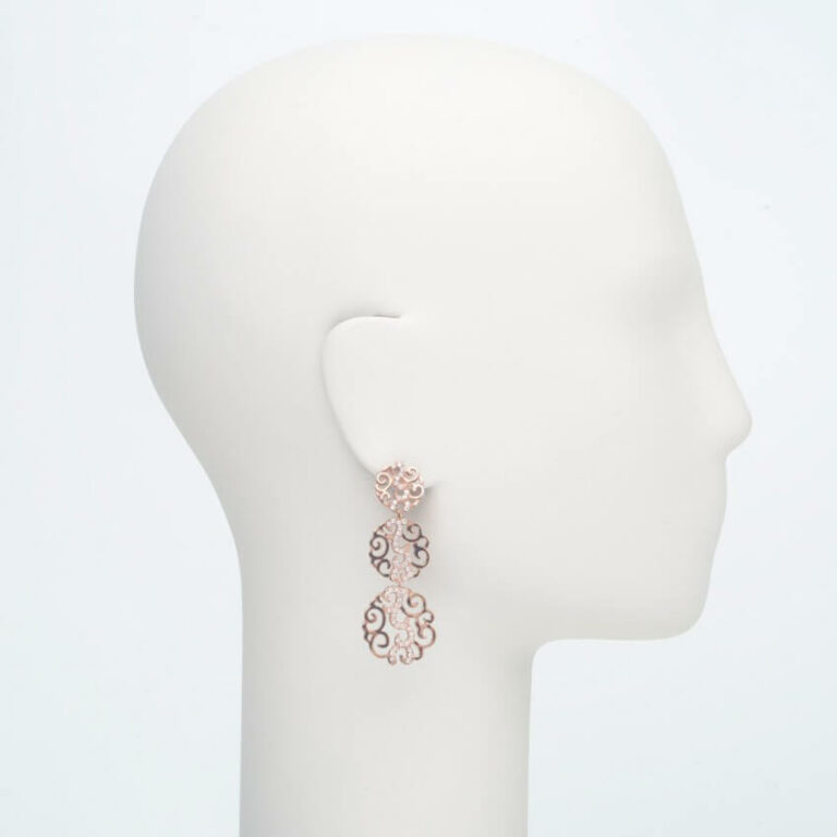 orecchino pendente perno zirconi oro rosa