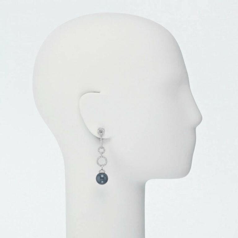 orecchino perno pendente zirconi blu zaffiro