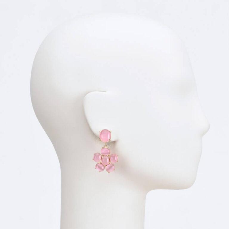 orecchino perno cabochon rosa