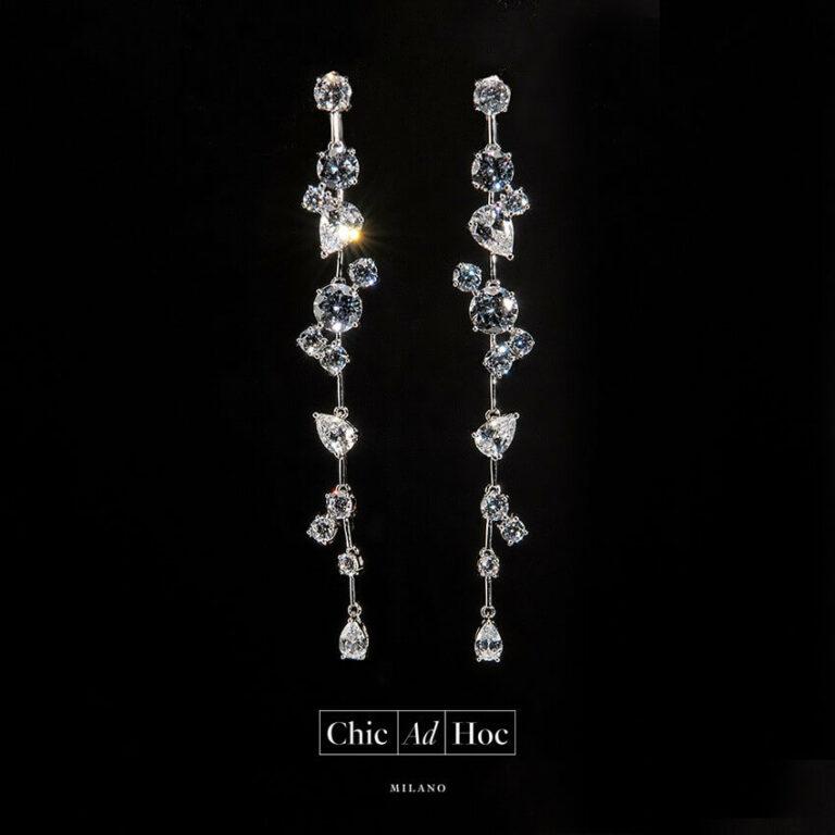 orecchino perno caduta zirconi argento