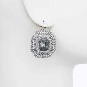 orecchino perno cristalli grigio argento