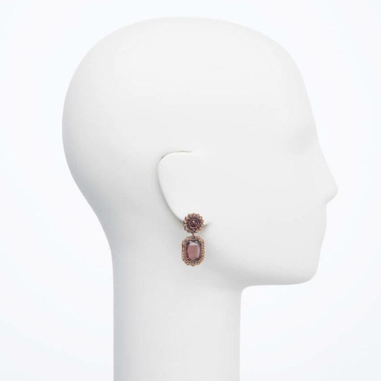 orecchino perno cristalli marrone burgundy