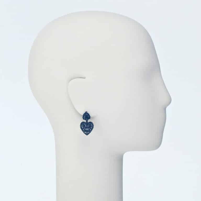 orecchino perno cuore cristalli nero