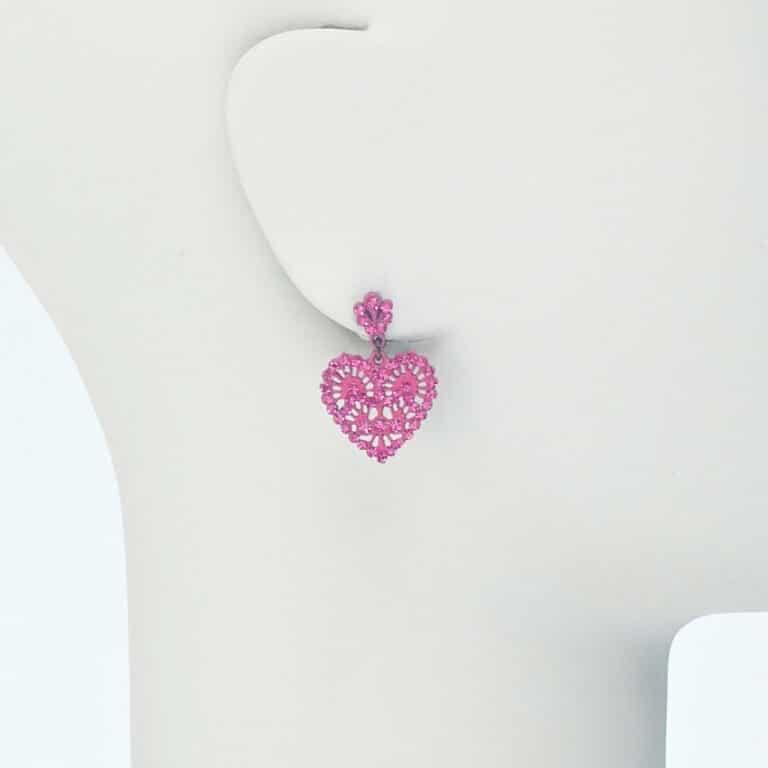 orecchino perno cuore cristalli fucsia
