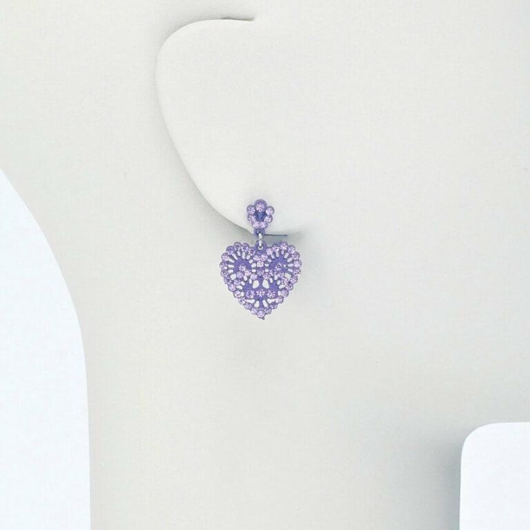 orecchino perno cuore cristalli lilla