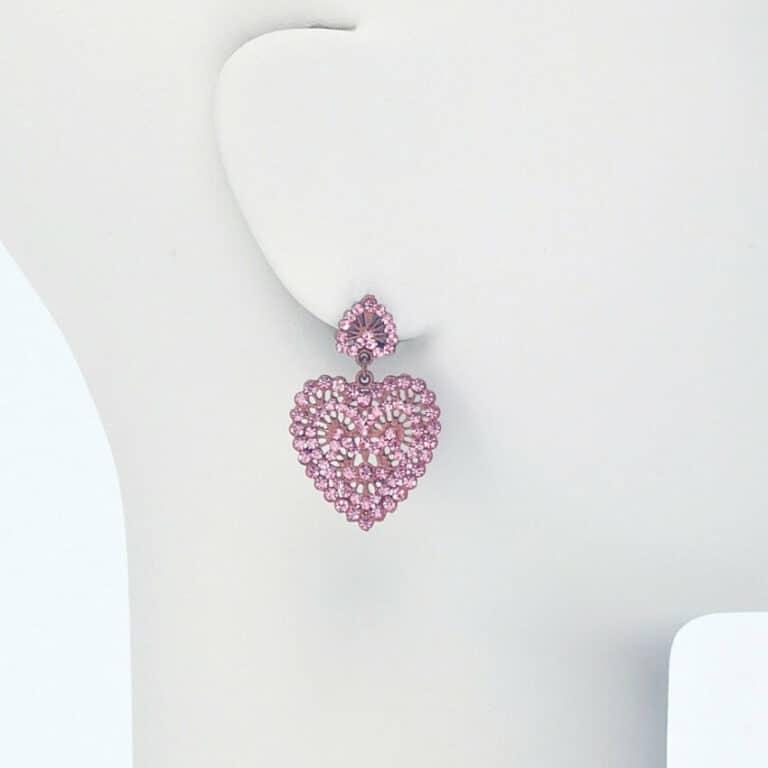 orecchino perno cuore strass rosa