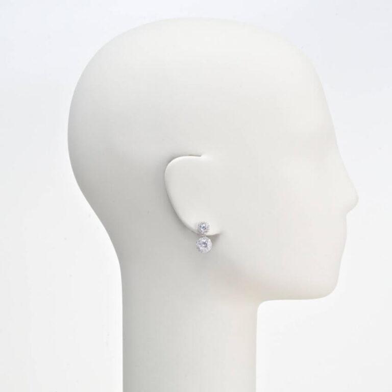 orecchino perno doppio punto luce corona