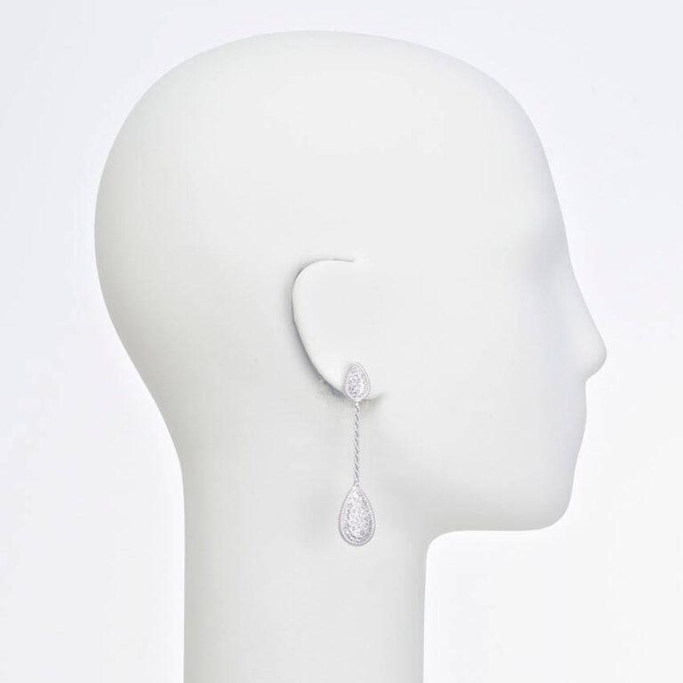 orecchino perno goccia argento zirconi