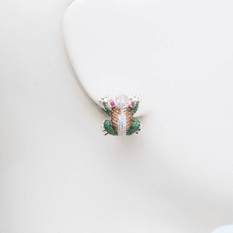 orecchino perno lobo rana strass multicolor
