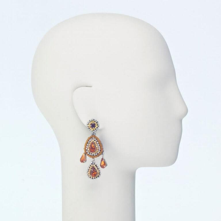 orecchino perno pendente cristalli giallo
