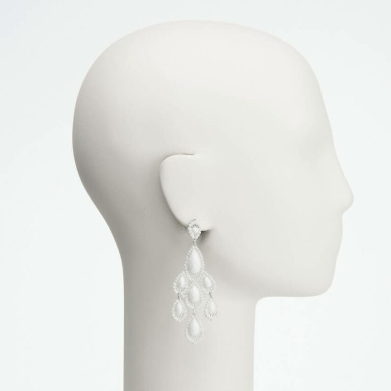 orecchino perno pendente cristalli sfaccettati bianco