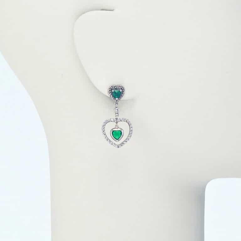 orecchino perno pendente cuori zirconi smeraldo