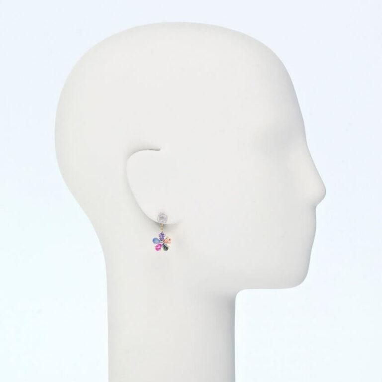 orecchino perno pendente fiore zirconi multicolor