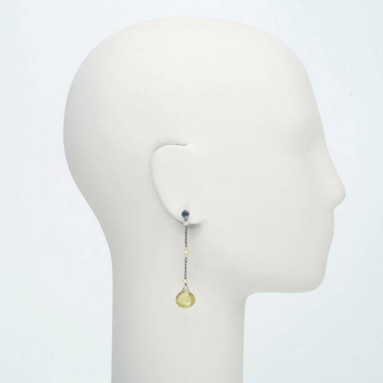 orecchino perno pendente nero citrino