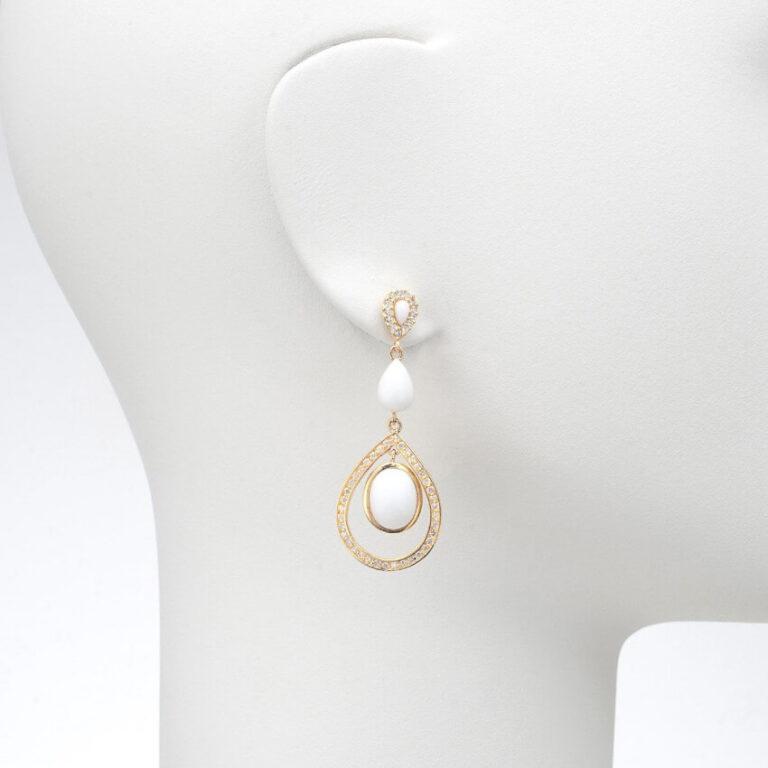 orecchino perno pendente oro agata bianco