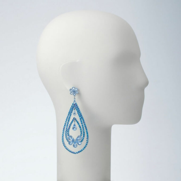 orecchino perno pendente strass azzurro