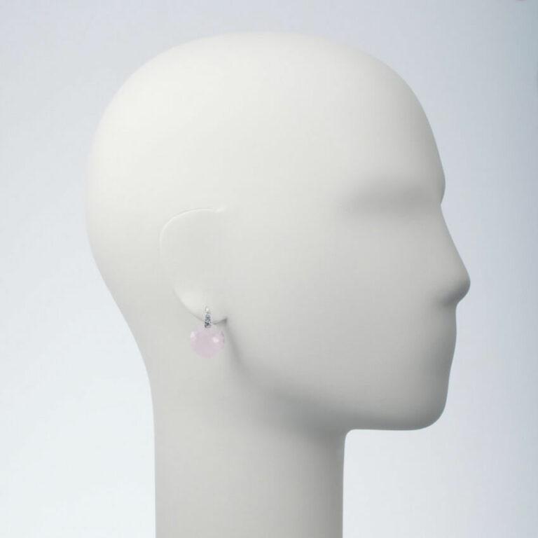 orecchino perno pietra rosa