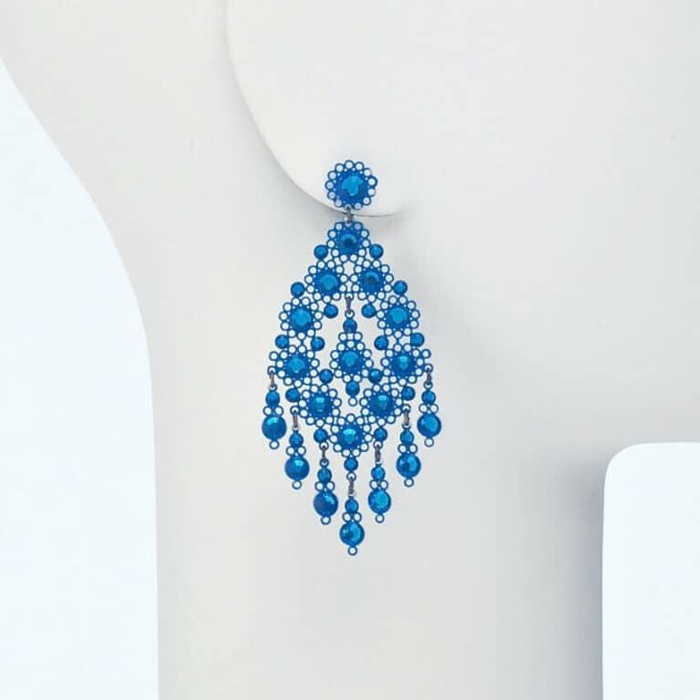 orecchino perno ricamo cristalli azzurro