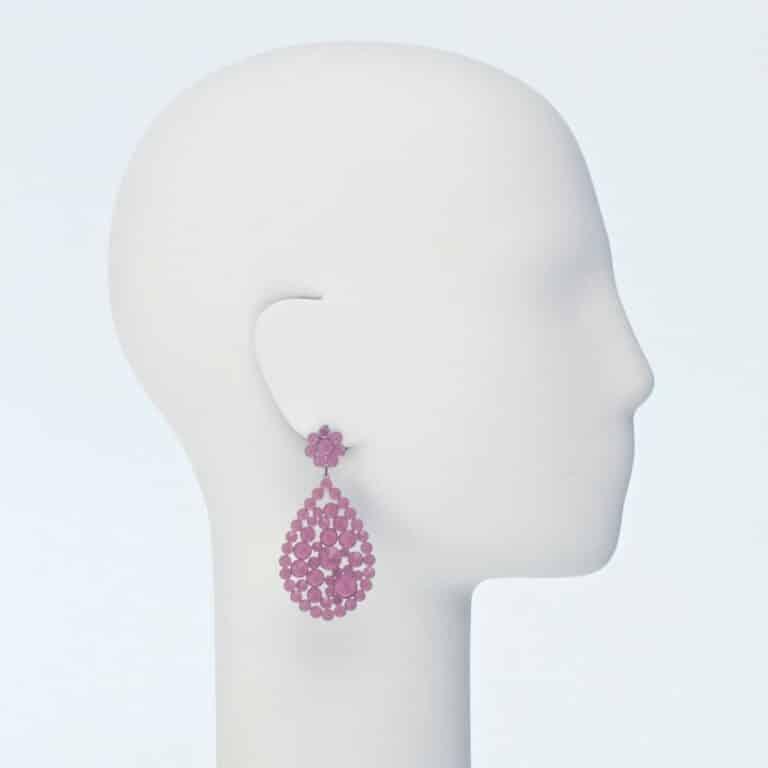 orecchino perno cristalli rosa opachi