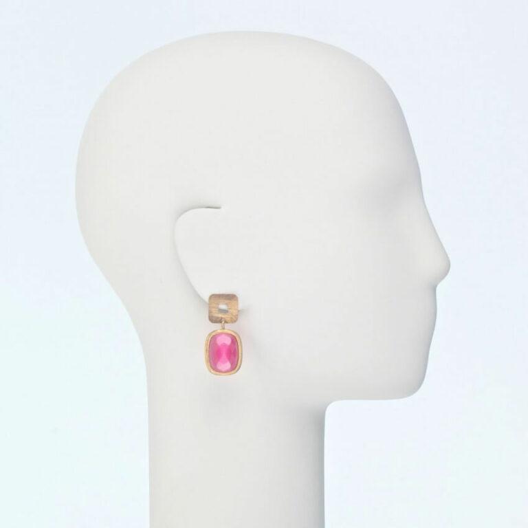 orecchino perno oro pietra rosa