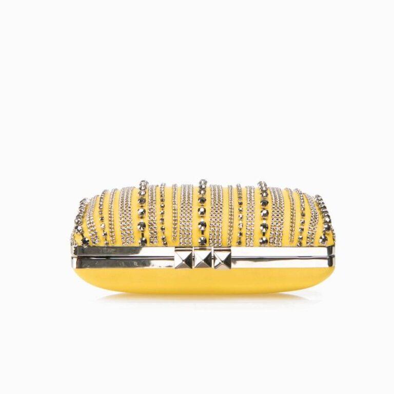 pochette ecopelle catene giallo argento