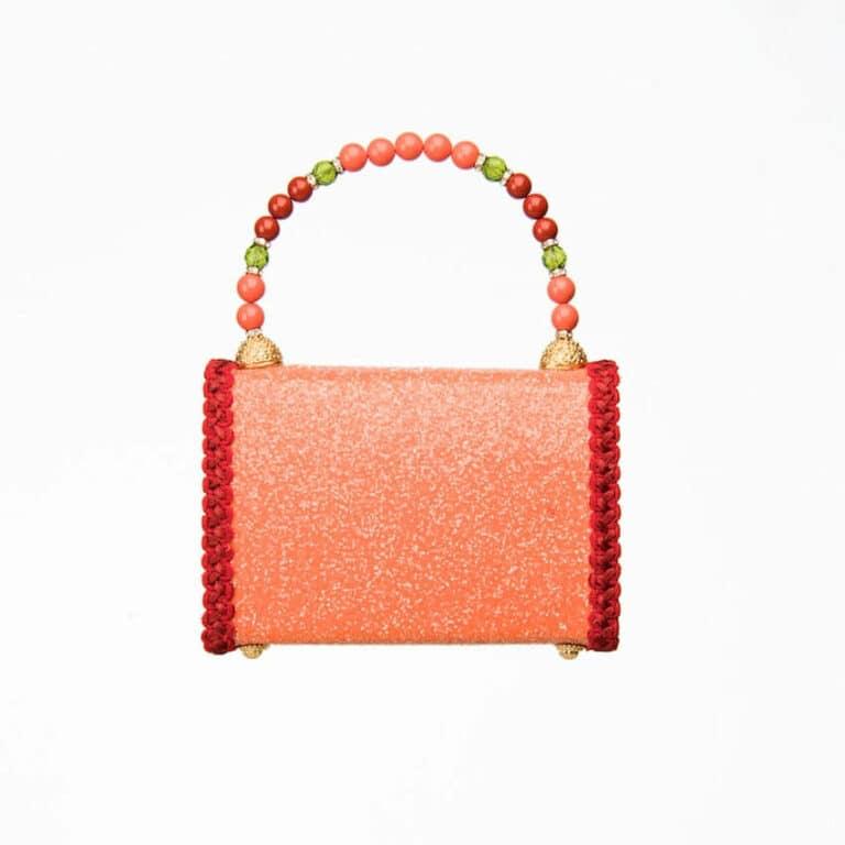 pochette glitter arancione rosso zini