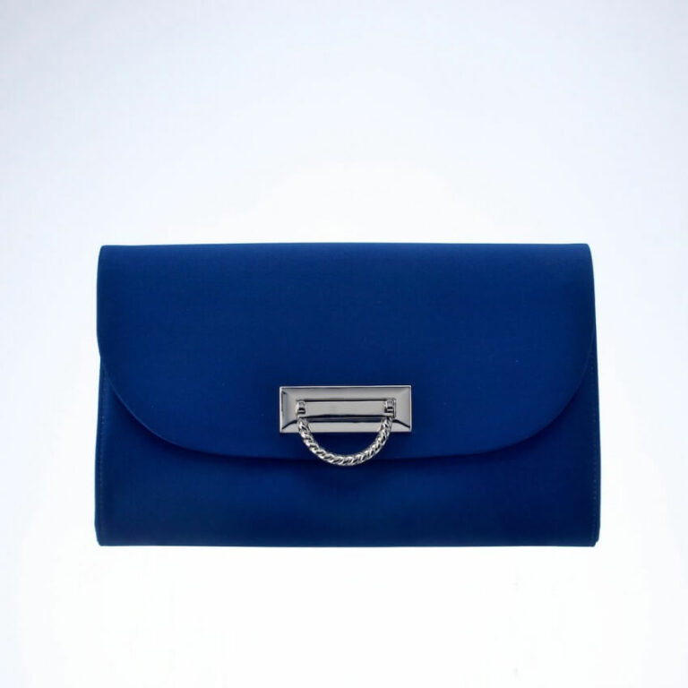 pochette raso seta blu