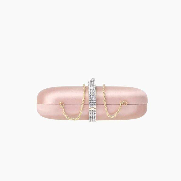 pochette raso seta cristalli swarovski rosa