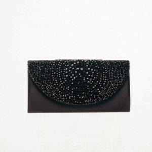 pochette raso seta nero swarovski