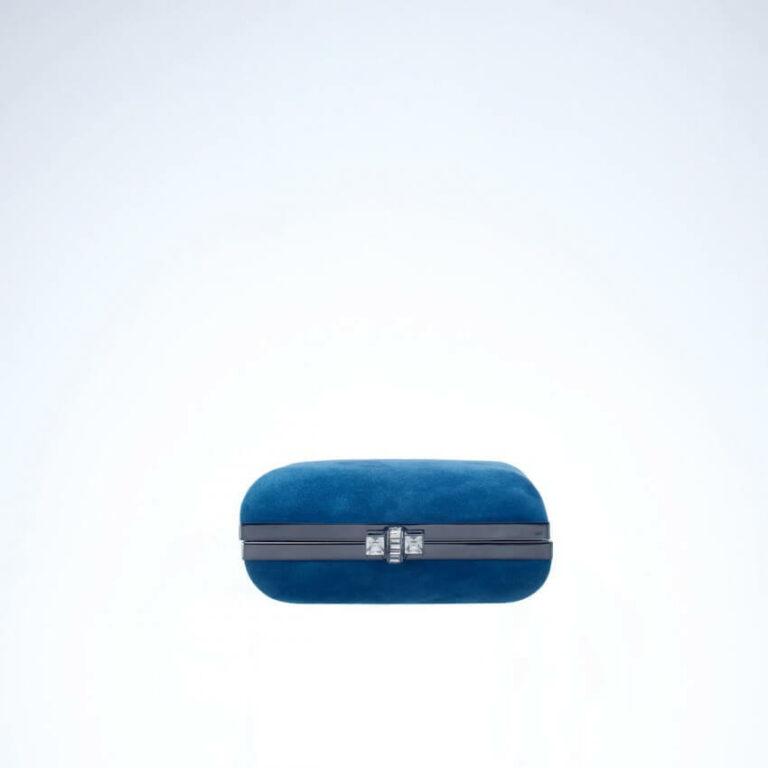 pochette rigida camoscio blu