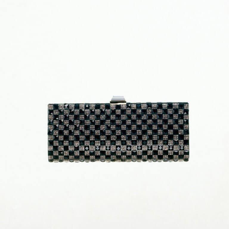 pochette rigida cristalli swarovski nero