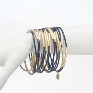 se7 15 bracciali cuoio nero metallo