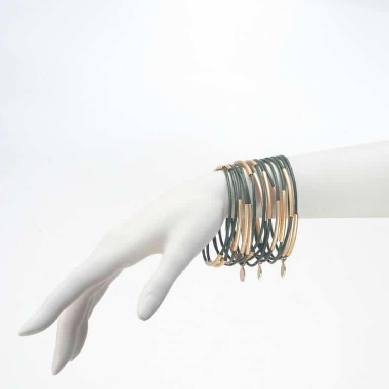 se7 15 bracciali cuoio verde metallo