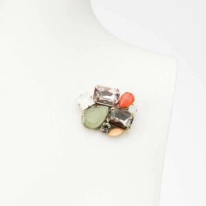 spilla fantasia multicolor resina arancione verde argento