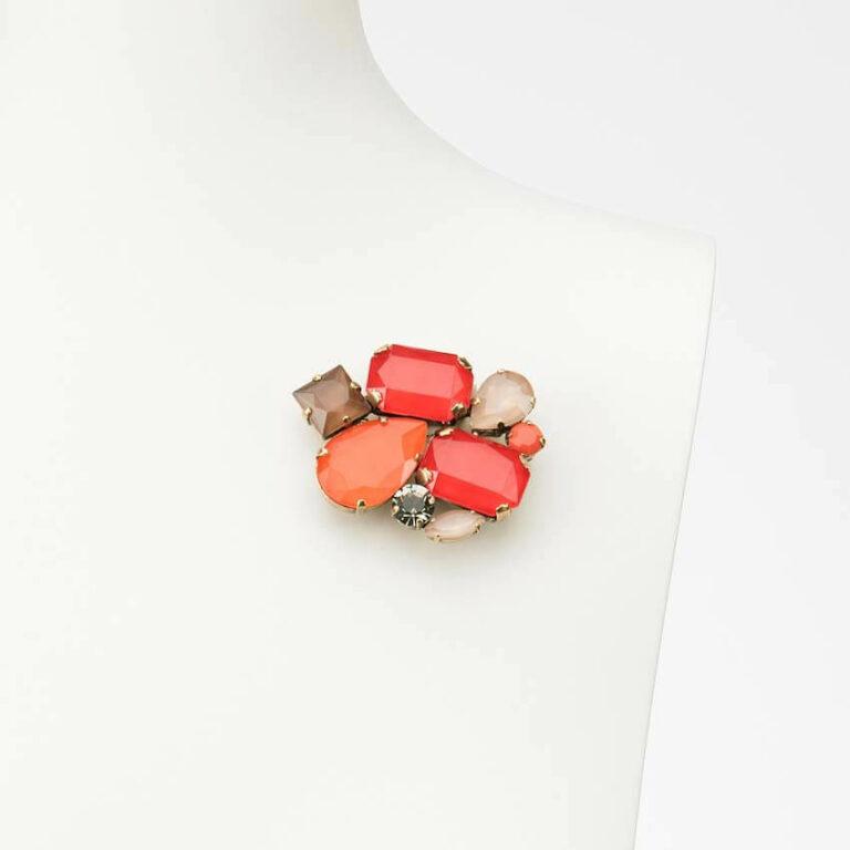 spilla fantasia multicolor resina rosso arancio
