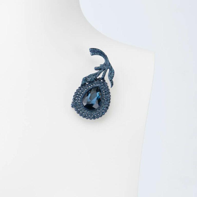 spilla fiore stilizzato blu