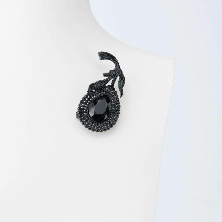spilla fiore stilizzato nero