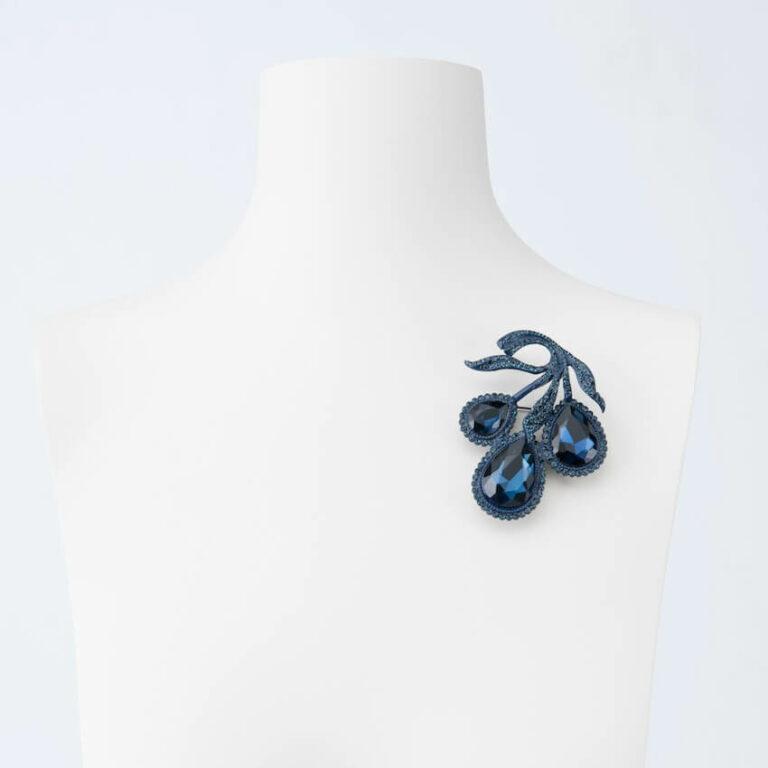 spilla grappolo cristalli blu