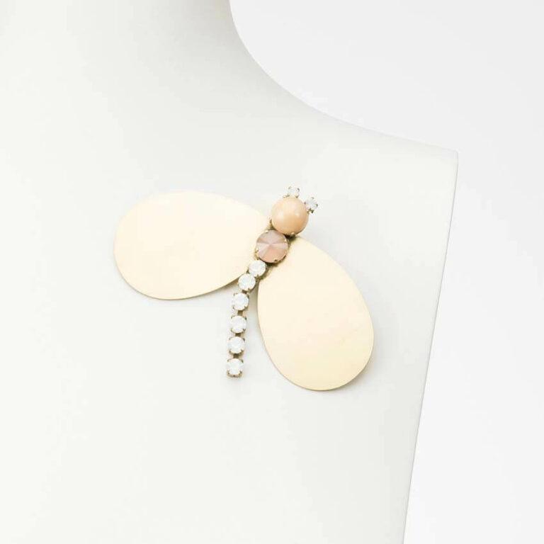 spilla libellula oro bianco rosa