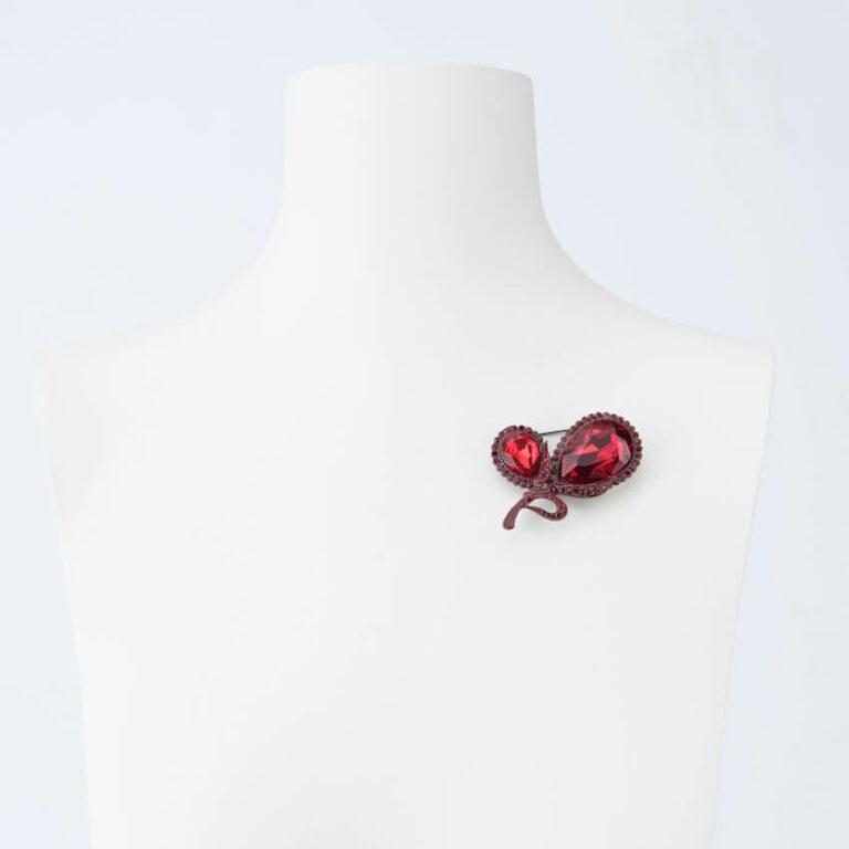 spilla mini bouquet rosso